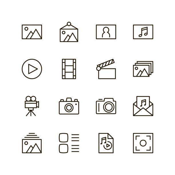 flache liniensymbol - fotografische themen stock-grafiken, -clipart, -cartoons und -symbole