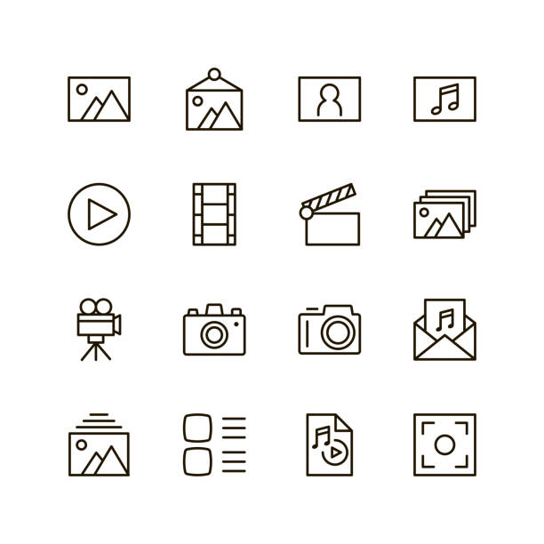 stockillustraties, clipart, cartoons en iconen met platte lijn pictogram - in de camera kijken