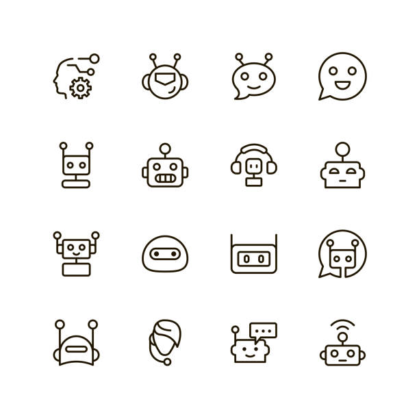 flat line icon - robotics stock illustrations, clip art, cartoons, & icons