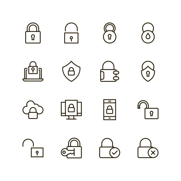 Flat line icon Lock flat icon. Single high quality outline symbol of padlock for web design or mobile app. Thin line signs of security for design icon, visit card, etc. Outline icon of safe padlock stock illustrations