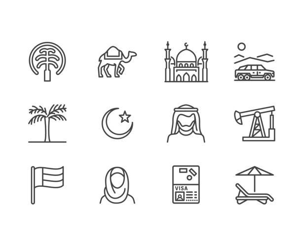 ilustrações de stock, clip art, desenhos animados e ícones de uae flat line icons. arab emirates flag, dubai , islam mosque, desert offroad car, muslim people, camel, oil vector illustrations. thin signs for travel agency. pixel perfect 64x64. editable strokes - oleo palma