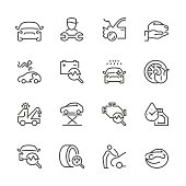 Icon Set of auto repair on white background , Vector line design icon The latest line design icon ,Match the latest trends in design and creativity ,It will help all of your graphic design & Mobile device & interface Design