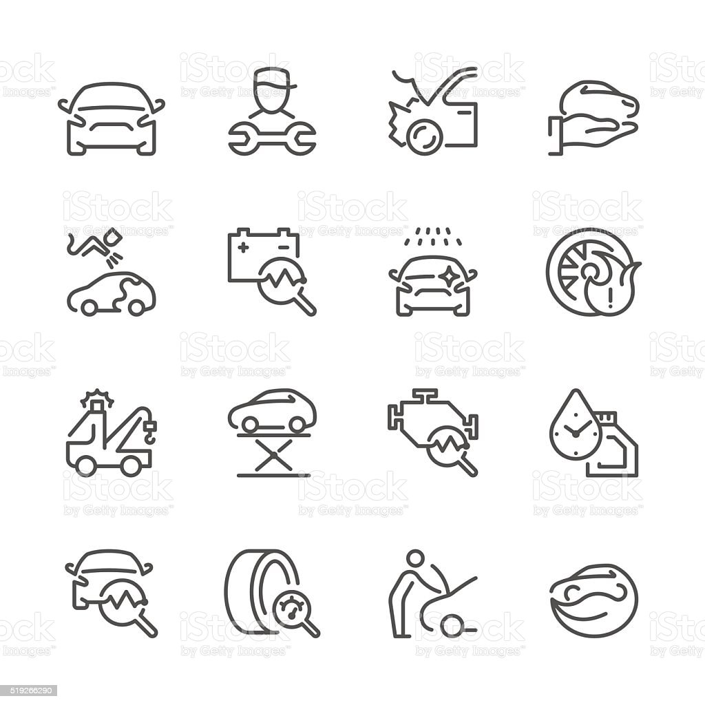 Flat Line icons - Auto Repair Series vector art illustration
