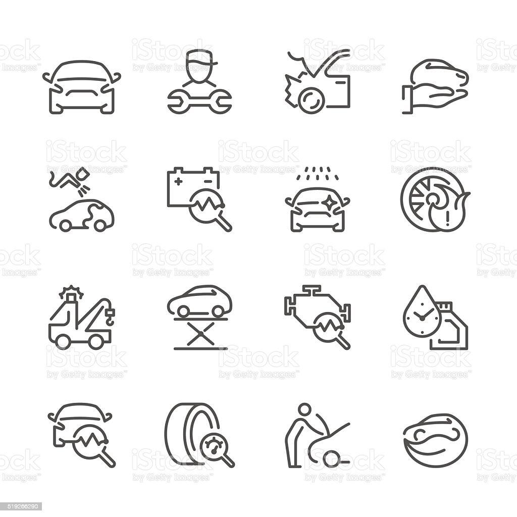 フラットラインのアイコン-自動車修理シリーズ ベクターアートイラスト