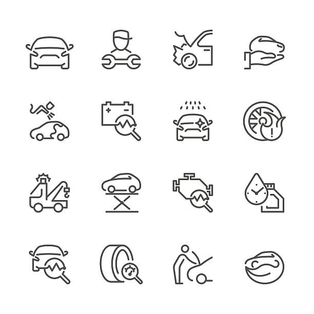 flat line icons - auto repair series - mechanic stock illustrations, clip art, cartoons, & icons