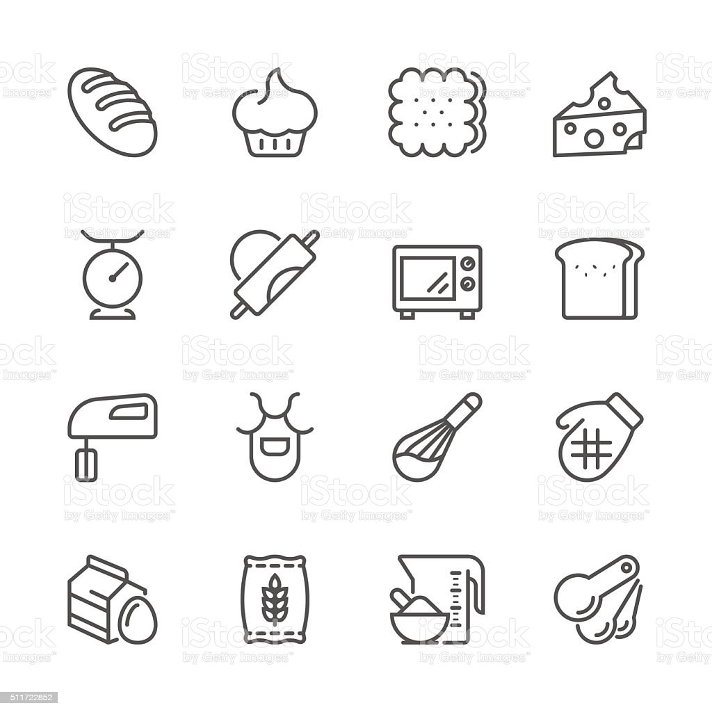 Flat Line icons - Baking Series