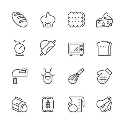 Flat Line icons - Baking Series