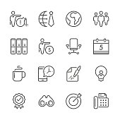 Icon Set of Business on white background , Vector line design icon The latest line design icon ,