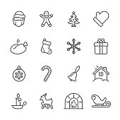 Icon Set of Christmas on white background , Vector line design icon The latest line design icon ,