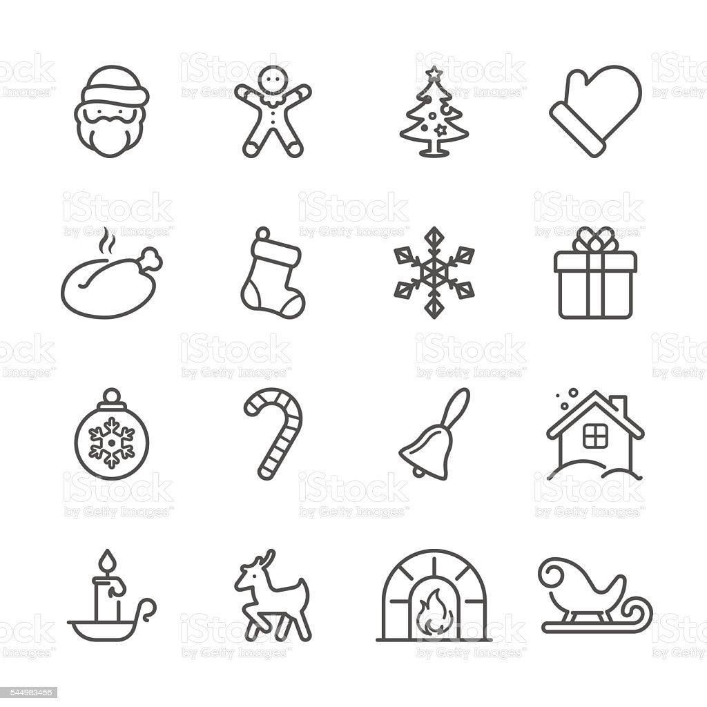 Flat Line icons - Christmas Series vector art illustration