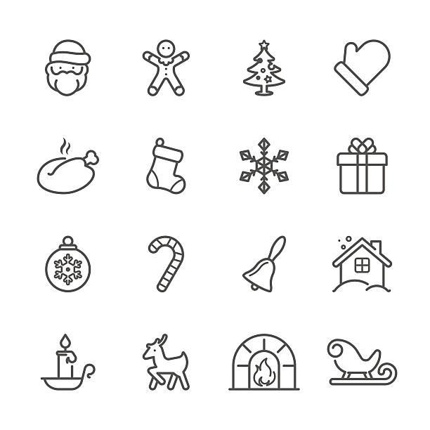 flache linie icons-serie-weihnachten - ferien  und feiertagssymbole stock-grafiken, -clipart, -cartoons und -symbole
