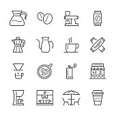 Icon Set of coffee on white background , Vector line design icon The latest line design icon ,