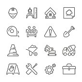 Icon Set of Construction Site on white background , Vector line design icon The latest line design icon ,Match the latest trends in design and creativity ,It will help all of your graphic design & Mobile device & interface Design