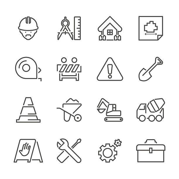 stockillustraties, clipart, cartoons en iconen met flat line icons - construction site series - alarm, home,