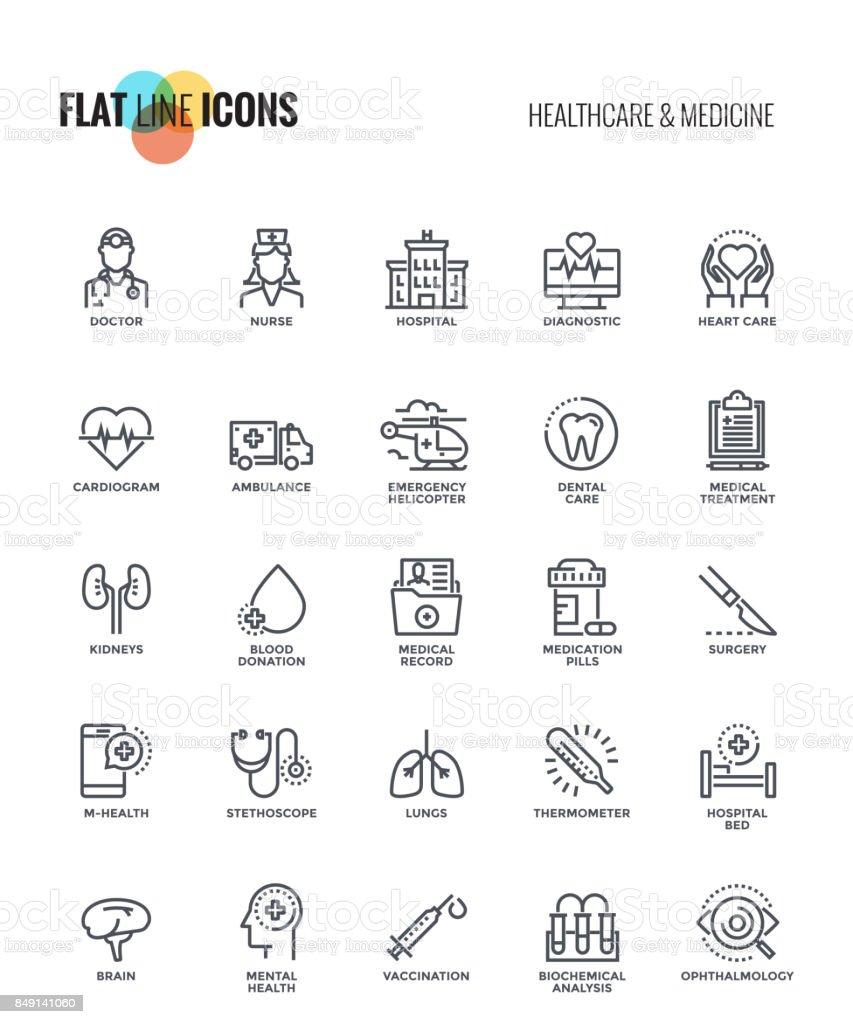 Linha lisa ícones projeto-saúde e medicina - ilustração de arte em vetor