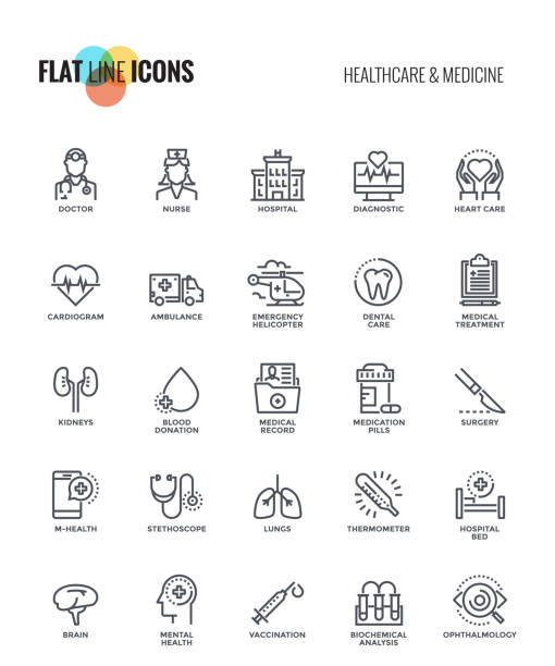 Flat line icons design-Healthcare and Medicine vector art illustration
