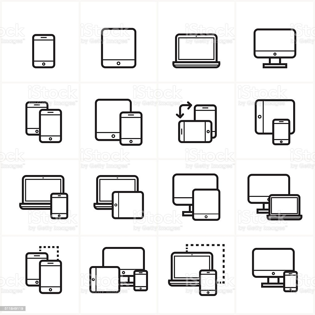 Flat Line Icons Device Icons and Responsive Web Design Icons Vector Illustration vector art illustration