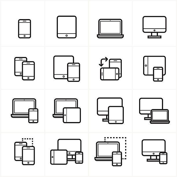 płaska linia ikony, ikony urządzenia i elastyczne projektowanie web ikony ilustracja wektorowa - wielokrotny obraz stock illustrations