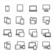 Flat Line Icons Device Icons and Responsive Web Design Icons Vector Illustration
