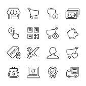 Flat Line icons - E-Commerce Series