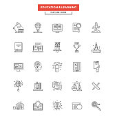 Flat Line  Icons - Education and Learning