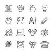 Icon Set of Education on white background , Vector line design icon The latest line design icon ,