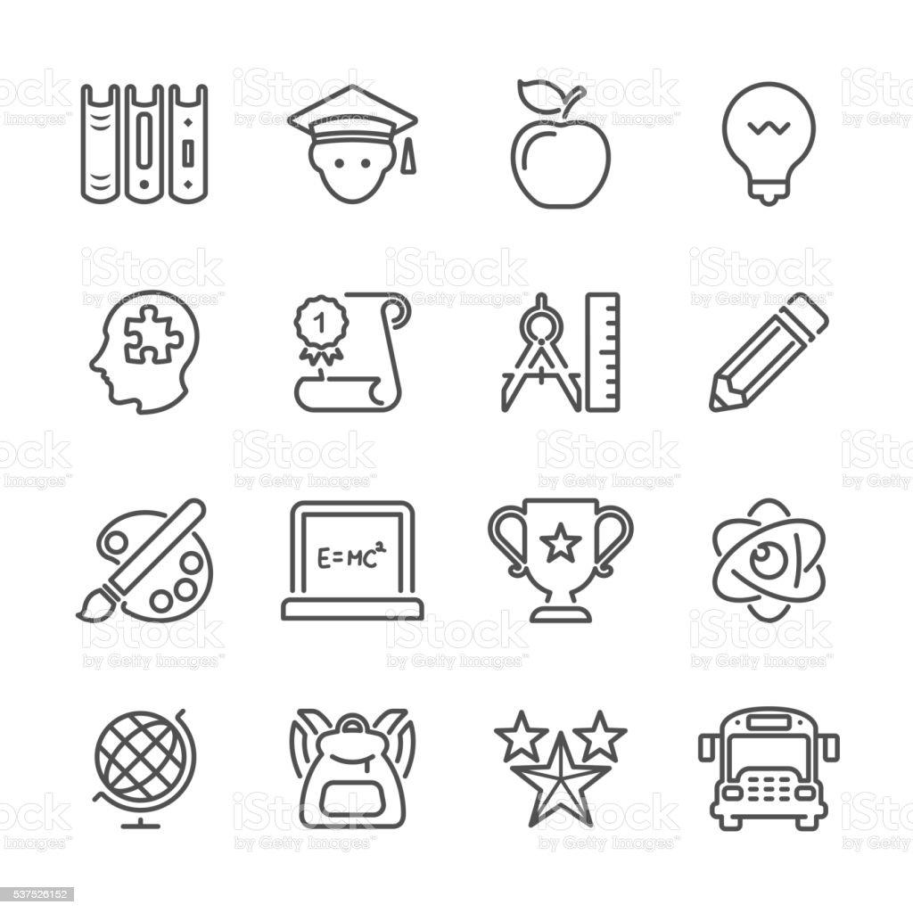 Flat Line icons - Education Series vector art illustration