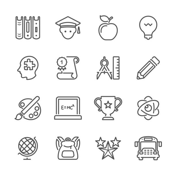 Flat Line icons - Education Series vector art illustration