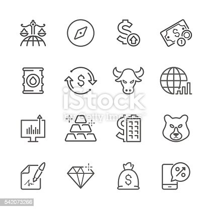 Icon Set of Finance & Investment on white background , Vector line design icon The latest line design icon ,