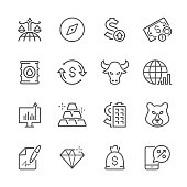 Flat Line icons - Finance & Investment  Series