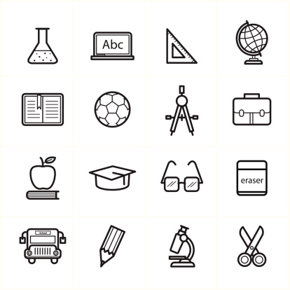 Flat Line Icons For Education Icons and School Icons Vector Illustration