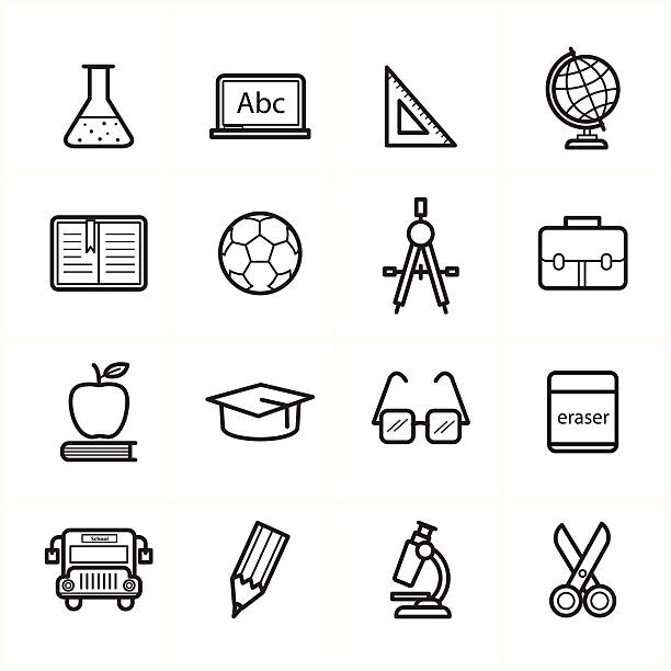 Flat Line Icons For Education Icons and School Icons Vector Illustration Flat Line Icons For Education Icons and School Icons Vector Illustration reference book stock illustrations