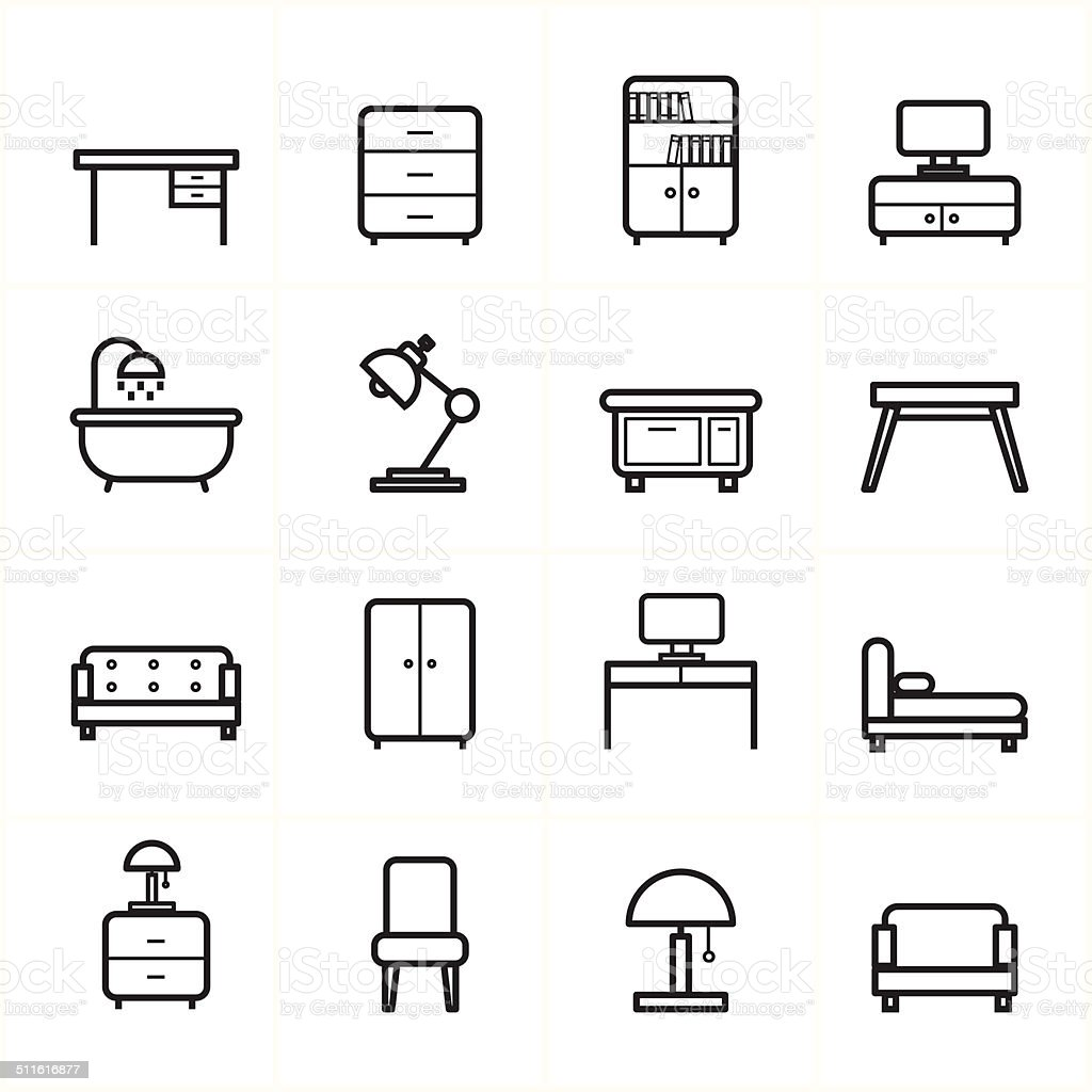Flat Line Icons For Furniture Icons Vector Illustration Stock Vector