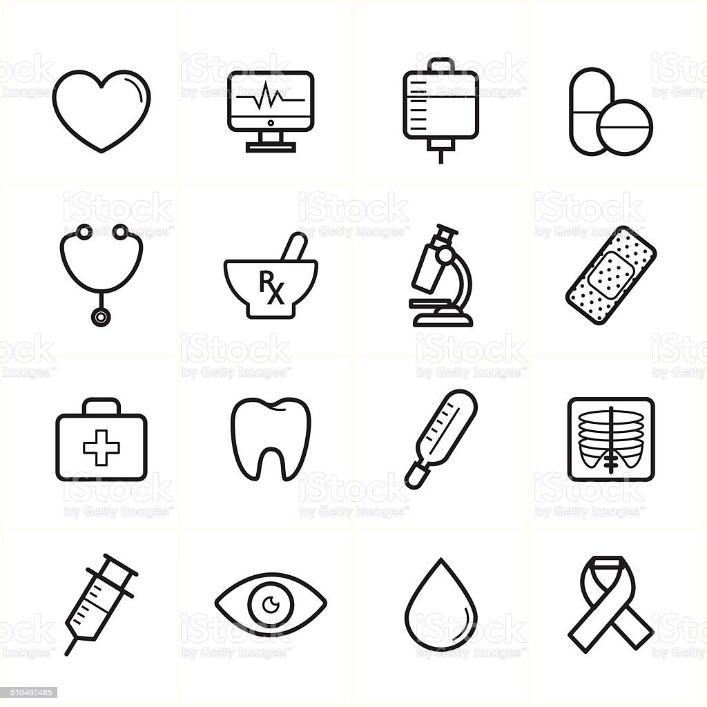 flat line icons for medical icons and health icons vector