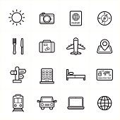 Flat Line Icons For Travel Icons and Transport Icons Vector Illustration