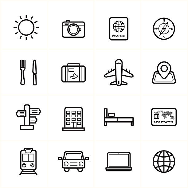 Flat Line Icons For Travel Icons and Transport Icons Vector Illustration Flat Line Icons For Travel Icons and Transport Icons Vector Illustration personal land vehicle stock illustrations