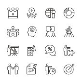 Icon Set of Global Business and Strategy on white background , Vector line design icon The latest line design icon ,