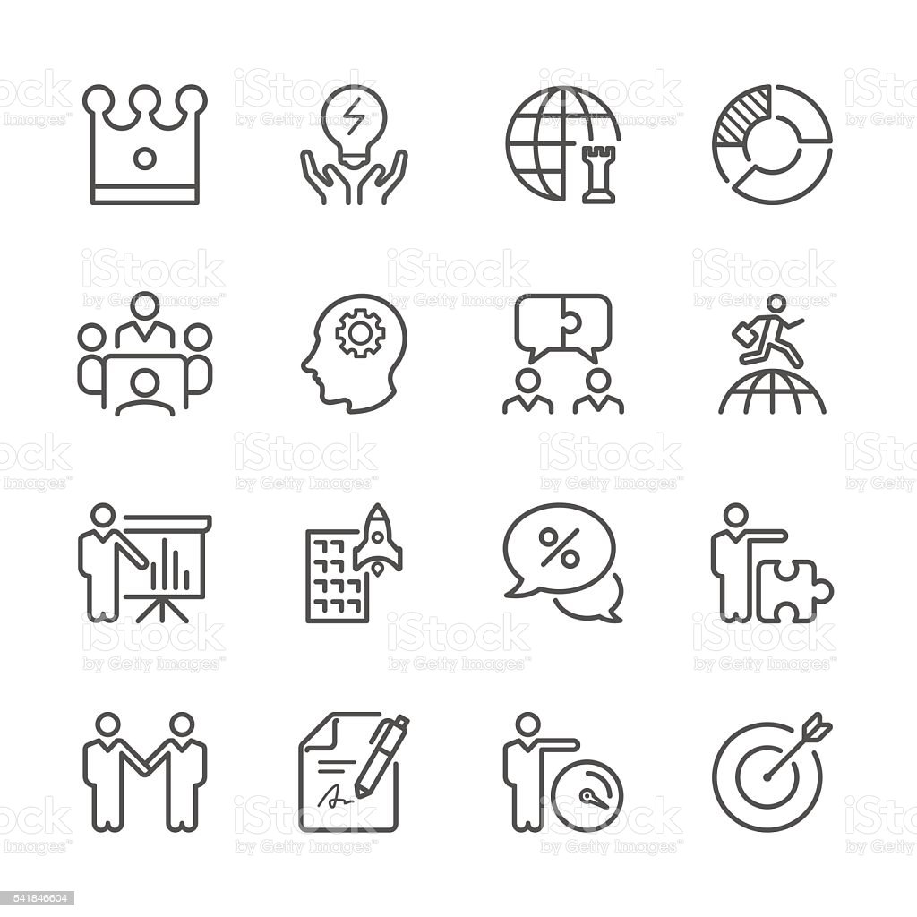 Flat Line icons - Global Business and Strategy  Series vector art illustration