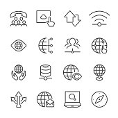 Icon Set of Global communication on white background , Vector line design icon The latest line design icon ,