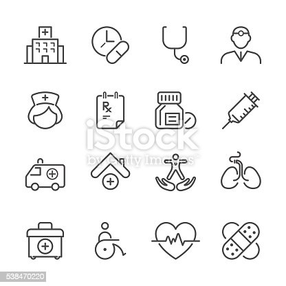 Icon Set of Medical on white background , Vector line design icon The latest line design icon ,