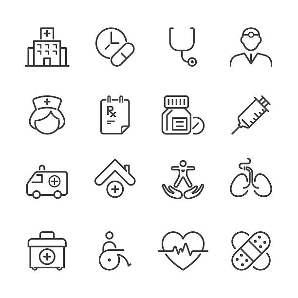 flat line icons - medical series - nurse stock illustrations, clip art, cartoons, & icons