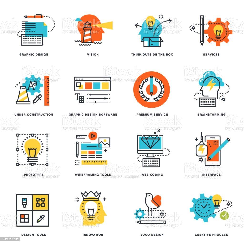 La ligne plat icônes de conception graphique, les outils et les processus créatif - Illustration vectorielle