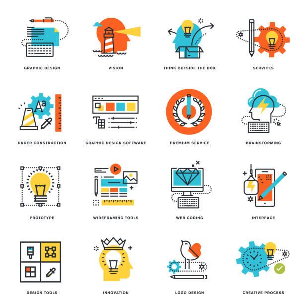 ilustrações, clipart, desenhos animados e ícones de linha plana de ícones do design gráfico, ferramentas e processo criativo - infográficos de site