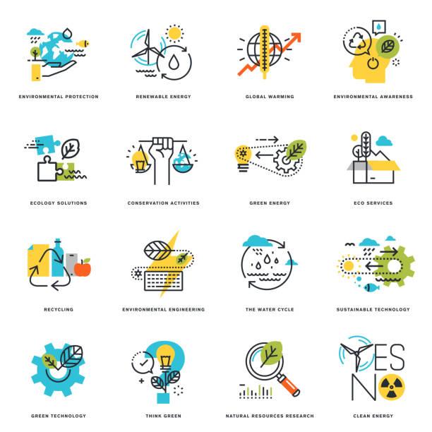 flache linie symbole der natur, ökologie, grün und recycling-technologie - umweltkonzept stock-grafiken, -clipart, -cartoons und -symbole