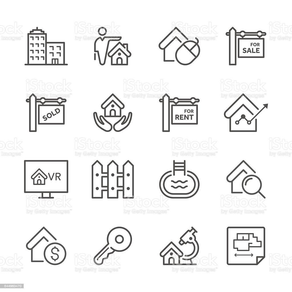 Flat Line icons - Real estate Series vector art illustration