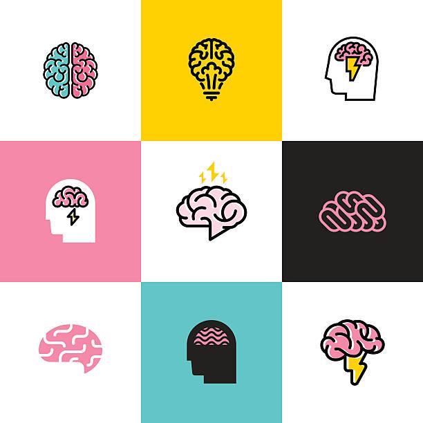 Flat line icons set of brain, brainstorming, idea, and creativity vector art illustration