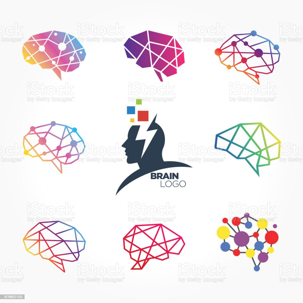 Flat line icons set of brain, brainstorming, idea, and creativity vector art illustration
