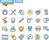 Flat line icons set of dental care theme
