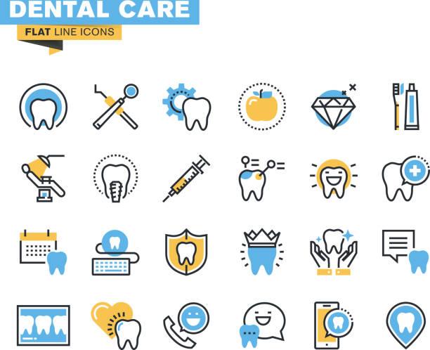 フラットラインのアイコンセットの歯科テーマ - 歯科点のイラスト素材/クリップアート素材/マンガ素材/アイコン素材
