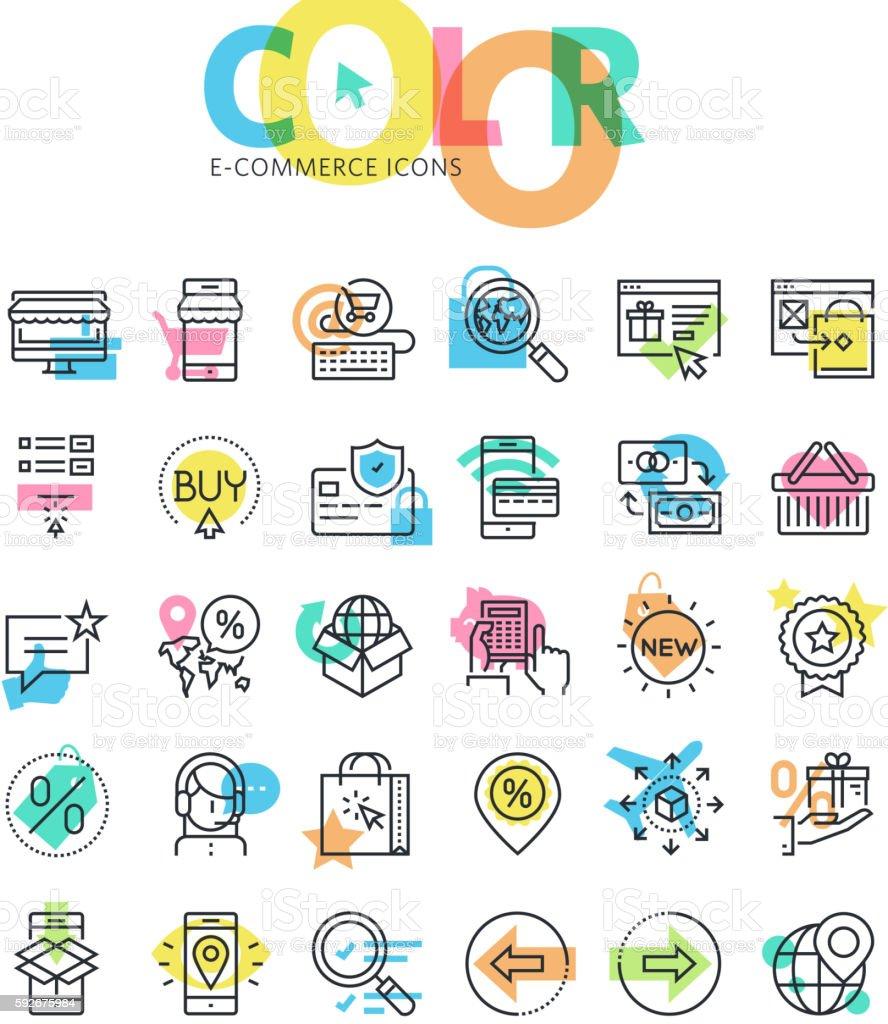 Flat line icons set of e-commerce, online sale vector art illustration
